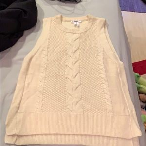 Paige size S pearl beaded cream sweater tank.